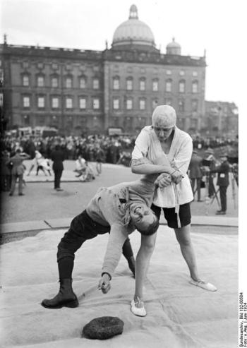 Ju-Jitsu defence against a knife attack. Berlin 1924