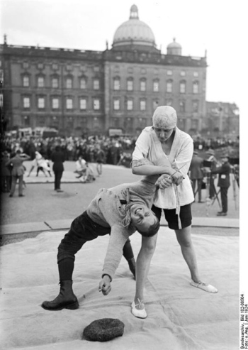 Ju-Jitsu defence against a knife attack. Berlin 1924